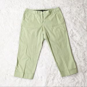 Lafayette 148 Spring Green Cuffed Cropped Pants